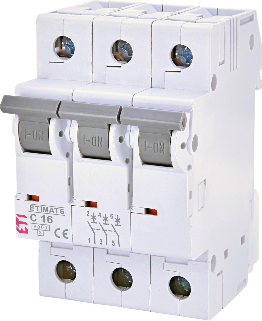 Авт. вимикач ETI ETIMAT 6 3p 16A C 6kA 2145516