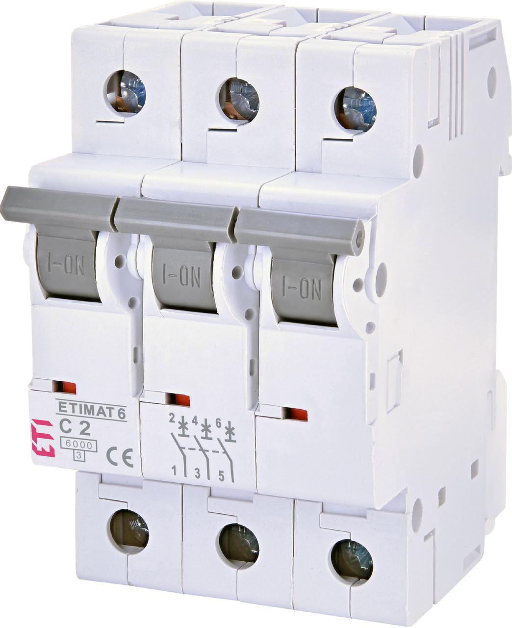 Авт. вимикач ETI ETIMAT 6 3p 2A C 6kA 2145508