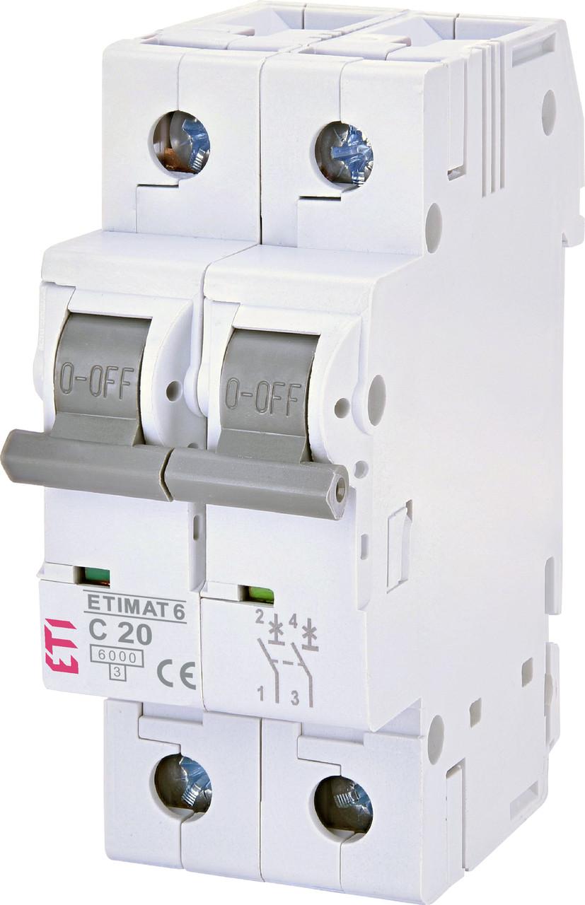 Авт. вимикач ETI ETIMAT 6 2p 20A C 6kA 2143517