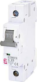 Автоматичний вимикач ETI ETIMAT 6 1p 25A C 6kA 2141518