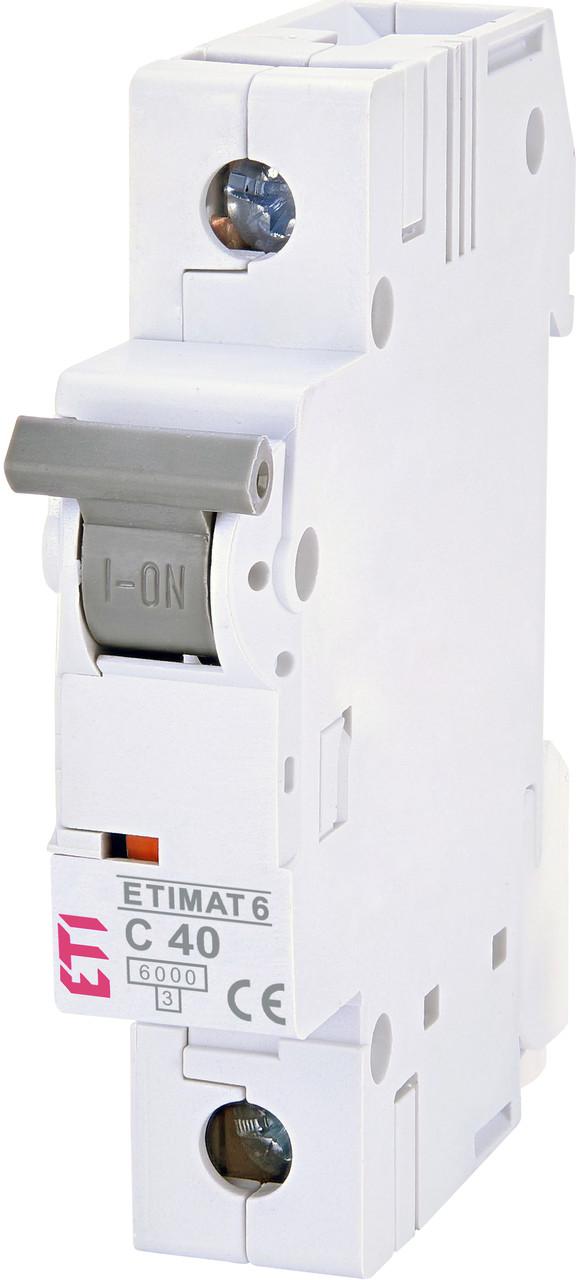 Авт. вимикач ETI ETIMAT 6 1p 40A C 6kA 2141520