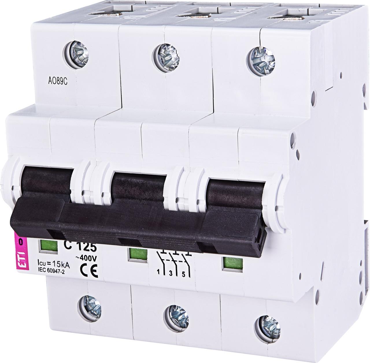 Авт. вимикач ETI ETIMAT 10 3p 125A C 10kA 2135733