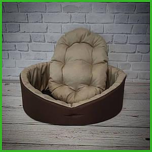 Лежанка для домашних питомцев, животных. Лежак для собак и кошек со съемной подушкой. Коричневый с бежевым