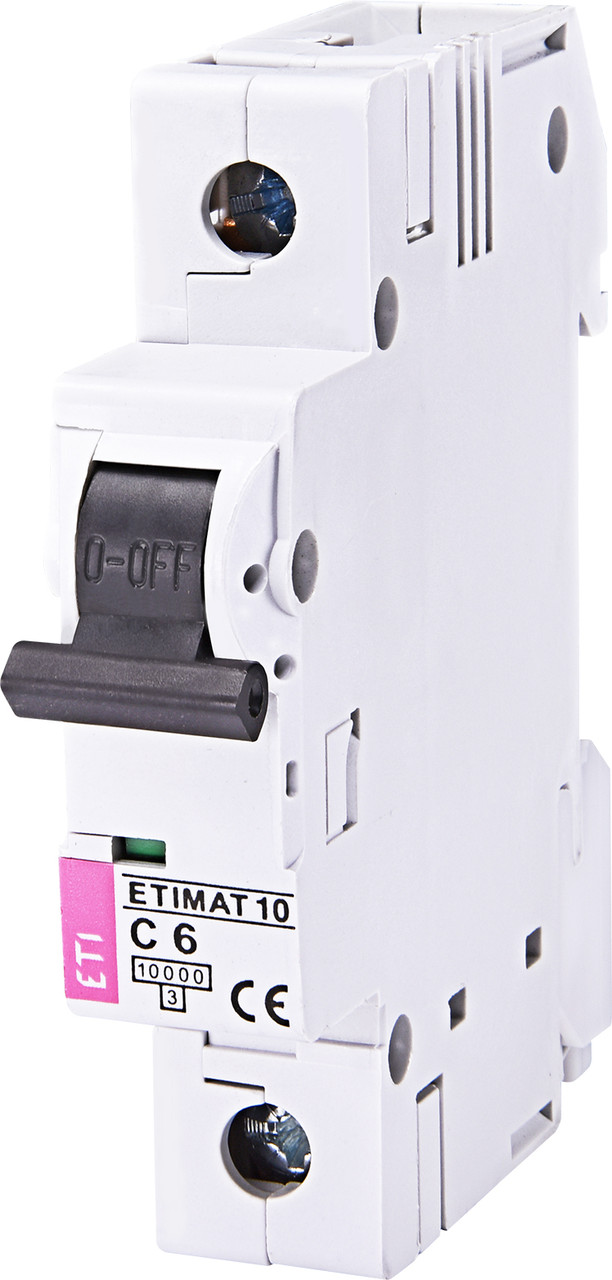 Авт. вимикач ETI ETIMAT 10 1p 6A C 10kA 2121712