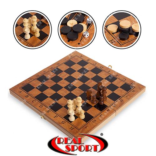 Шахматы, шашки, нарды 3 в 1 деревянные S4034