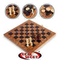 Шахматы, шашки, нарды 3 в 1 деревянные S4034, фото 1