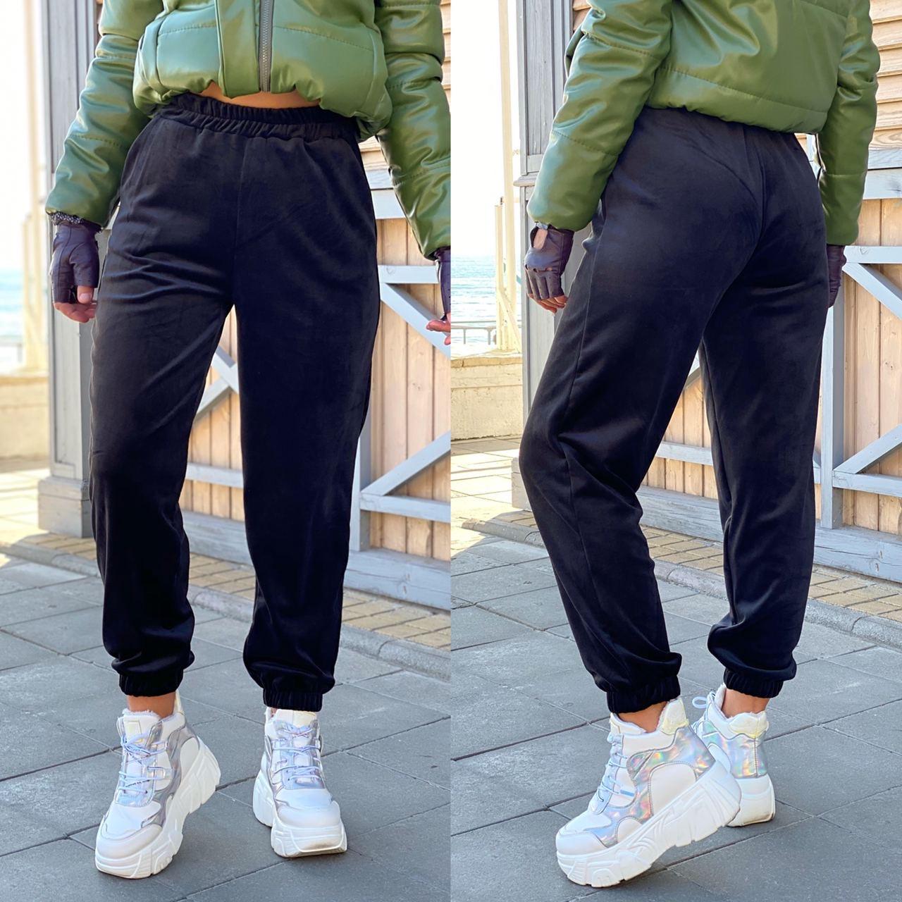 Тёплые велюровые штаны на флисе