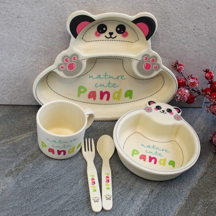 Детский посудный набор бамбуковый HLS 5 предметов 300 мл (7349)