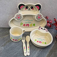 Детский посудный набор бамбуковый HLS 5 предметов 300 мл (7349), фото 1