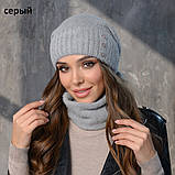 Вязанный набор шапка+баф пряжа 60%ангора, 40% акрил, фото 8
