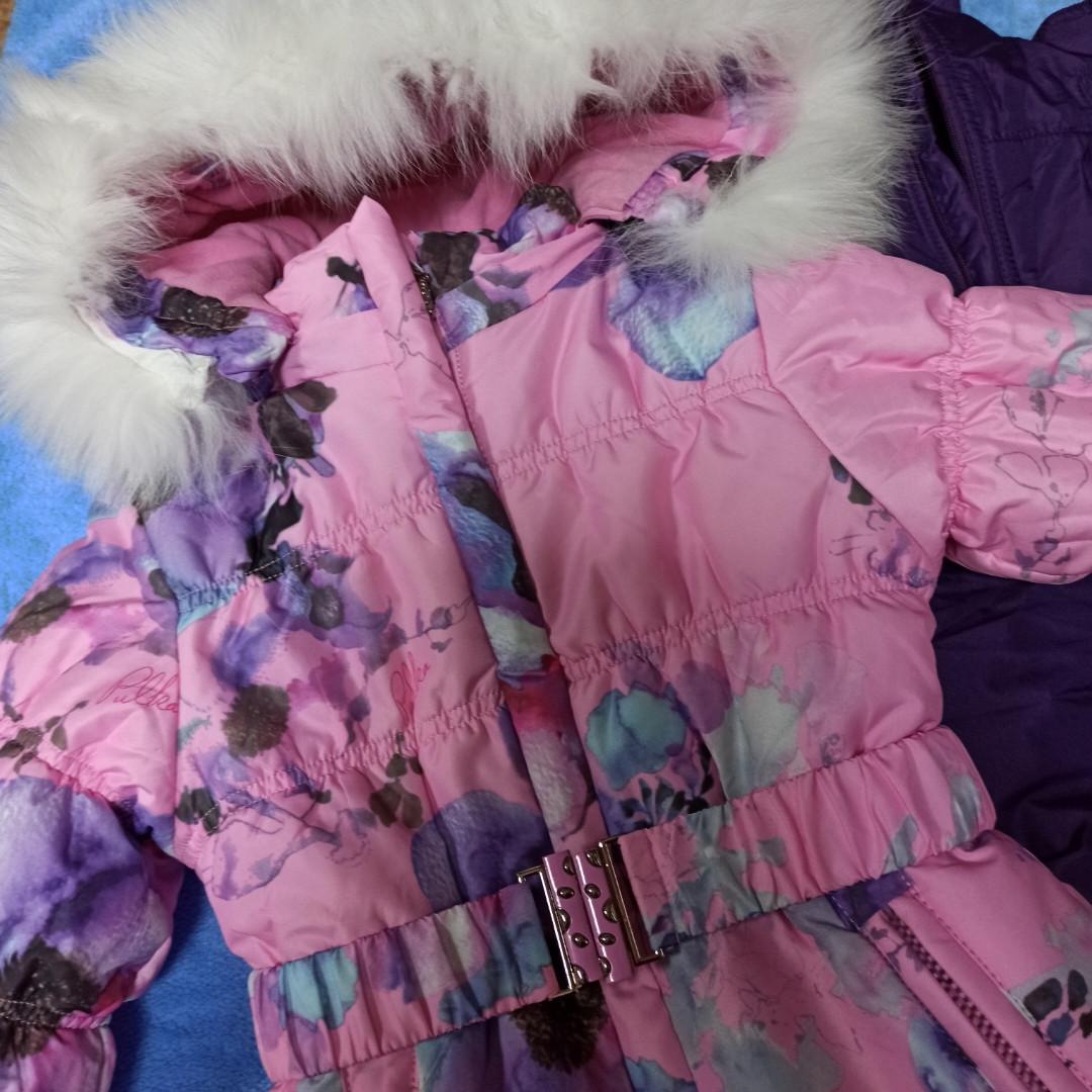 Зимний теплый костюм для девочки. В комплект входит куртка. штаны полукомбинезон. отстежной жилет.