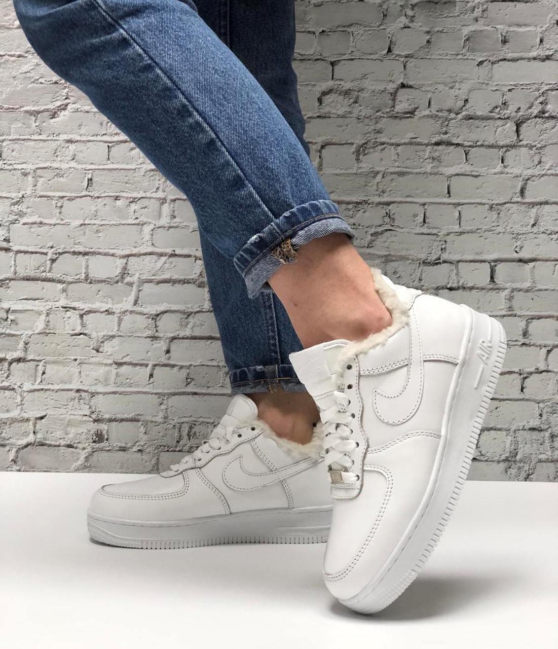Кроссовки зимние Nike Air Force low full white (Реплика ААА)