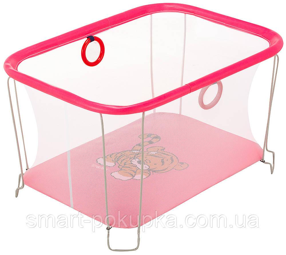 Манеж Qvatro Солнышко-02 мелкая сетка  розовый (tiger)