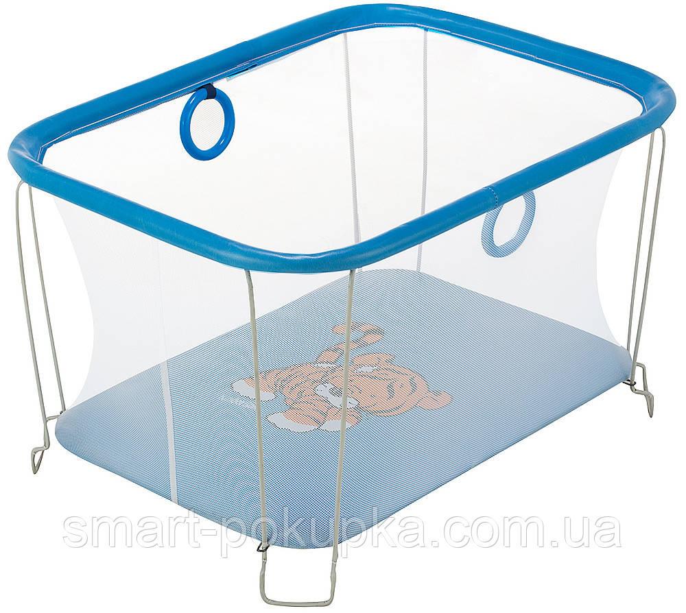 Манеж Qvatro Солнышко-02 мелкая сетка  синий (tiger)