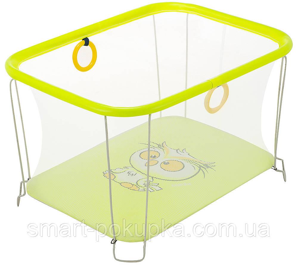 Манеж Qvatro Солнышко-02 мелкая сетка  желтый (owl)
