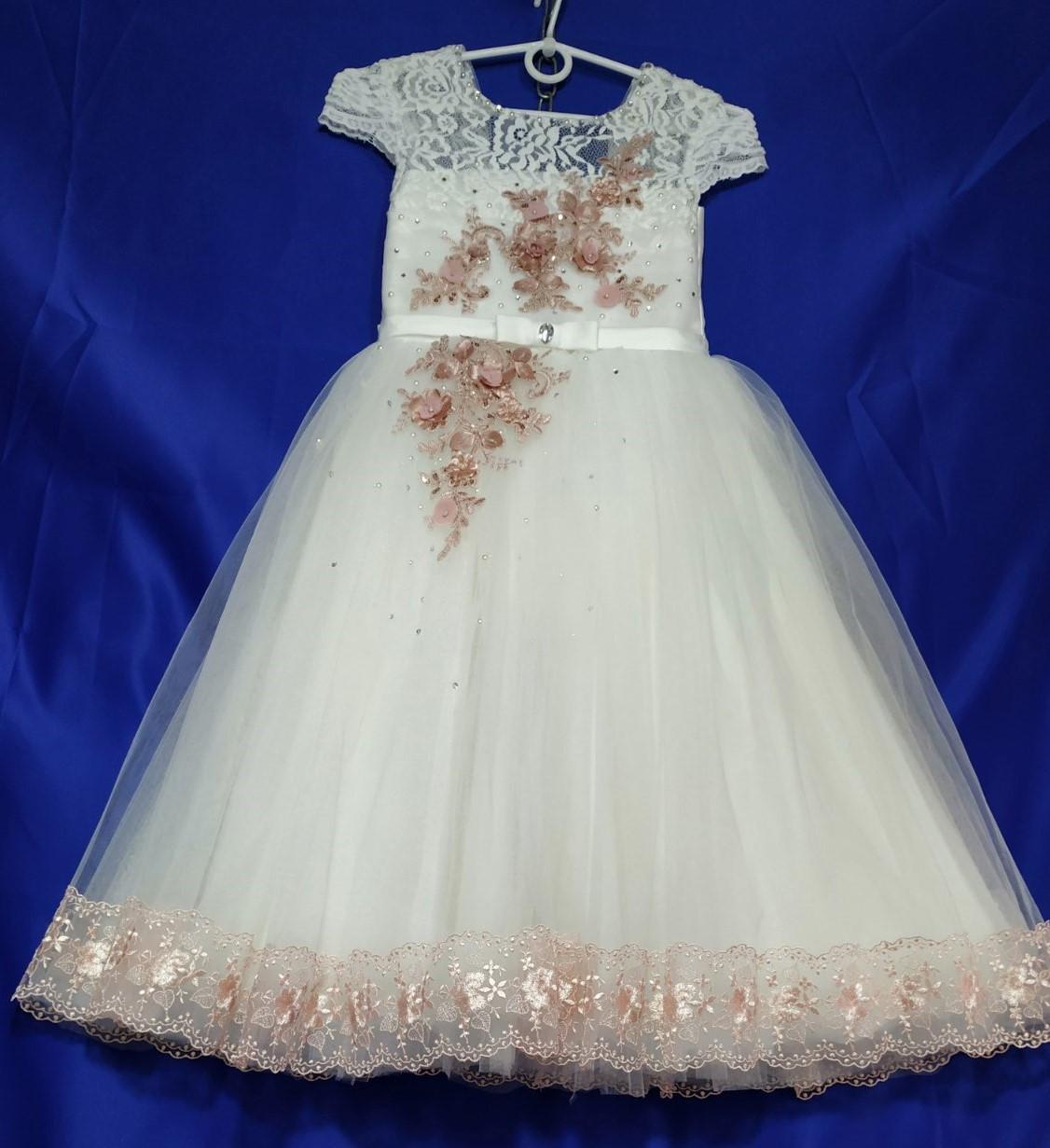 Бальна нарядне плаття на дівчинку 6-8 років білого кольору