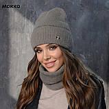 Вязанный набор шапка+баф пряжа 60%ангора, 40% акрил, фото 6
