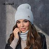 Вязанный набор шапка+баф пряжа 60%ангора, 40% акрил, фото 9