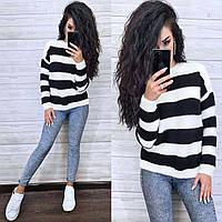 Черно-белый полосатый свитер, фото 1