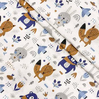 """Фланель """"Мишки, лисички с косынкой сине-коричневые"""" 160см"""