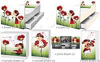 Кровать для девочки Красные маки Дрема Стайл от 1400х700