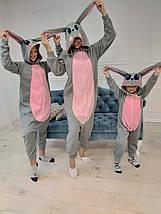 Пижама костюм Кигуруми Серый Заяц для детей и взрослых, фото 3