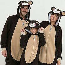 Пижама костюм Кигуруми Медведь для всей семьи, детей, взрослых