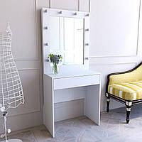Туалетный столик с зеркалом белый, 80 см в ширину, будуарный визажный стол, зеркало гримерное с лед подсветкой