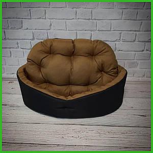 Лежанка для домашних питомцев, животных. Лежак для собак и кошек со съемной подушкой. Цвет: Черный + койот