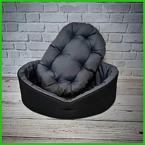 Лежанка для домашних питомцев, животных. Лежак для собак и кошек со съемной подушкой. Цвет: Черный с серым