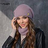 Вязанный набор шапка+баф пряжа 60%ангора, 40% акрил, фото 4