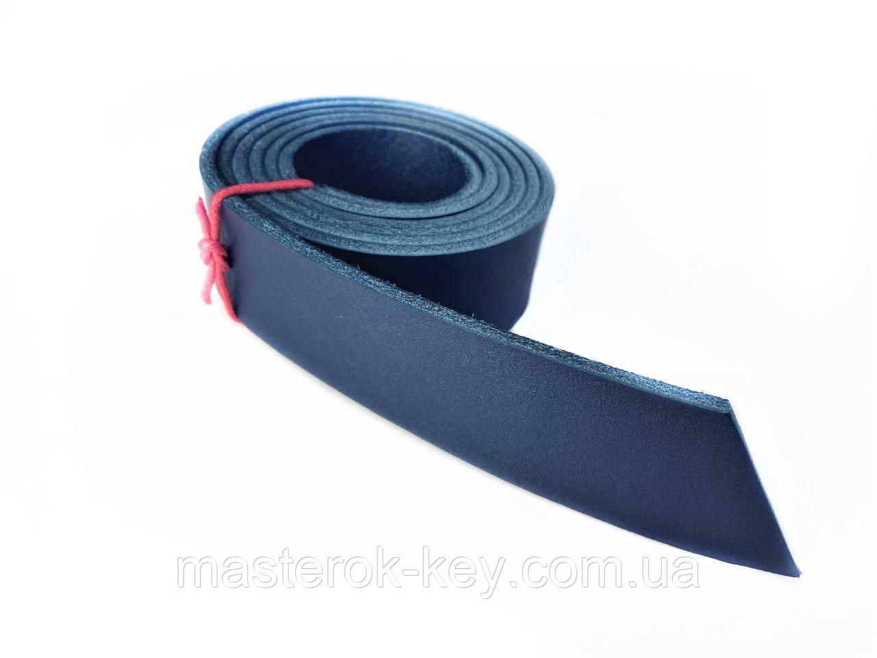Полоса ременная из кожи растительного дубления с финишным покрытием 1300*30*4 мм цвет  синий