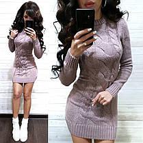 Платье мини вязаное с узором и рукавом шерсть, фото 2