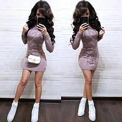 Сукня міні в'язане з коміром і рукавом шерсть