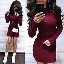 Платье мини вязаное с узором и рукавом шерсть, фото 3