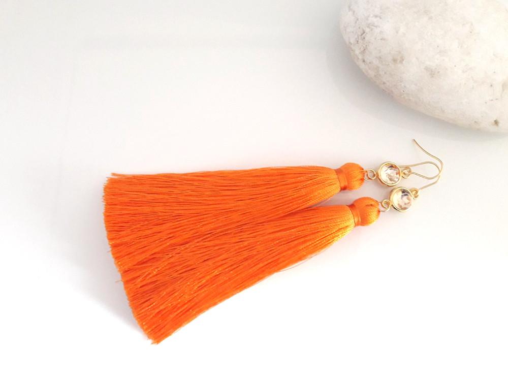Солнечный полдень - серьги с оранжевыми кистями