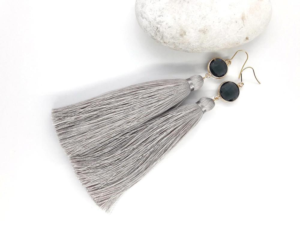 Сірий елеганс - Сережки з китицями