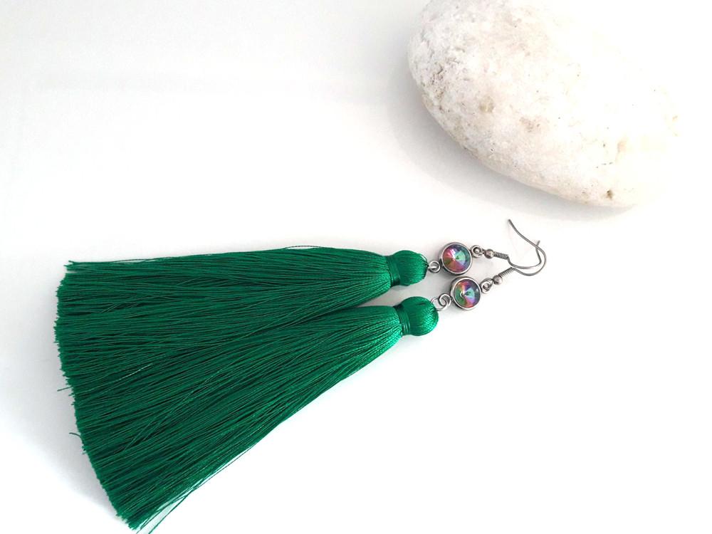 Серьги Цирконы с насыщенно-зелеными кистями