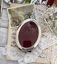 Старая английская овальная фоторамка, рамка для фото, посеребренный металл, Англия, винтаж