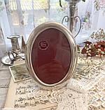 Старая английская овальная фоторамка, рамка для фото, посеребренный металл, Англия, винтаж, фото 3