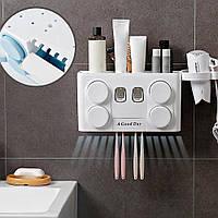 Органайзер дозатор для зубной пасты полочка держатель для зубных щеток Полка в ванную комнату
