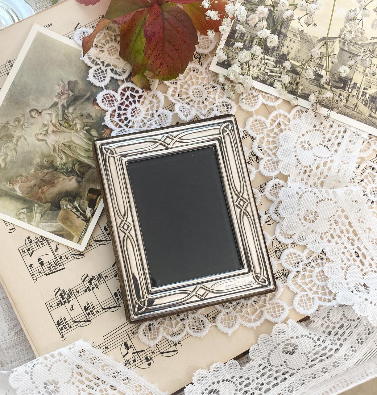Старая английская фоторамка, рамка для фото, посеребренный металл, Англия, винтаж