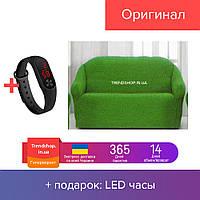 Зеленая накидка на диван | чехол на 3-х месный диван из натуральной ткани №20 170х230 см