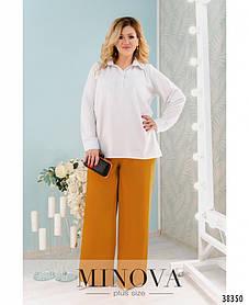 Свободные женские брюки клеш горчичного цвета,  большого размера 48-50,52-54,56-58,