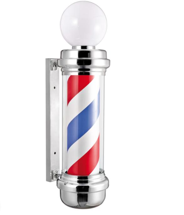 Стойка рекламная Barbers Pole хром с плафоном 85x31x23 см
