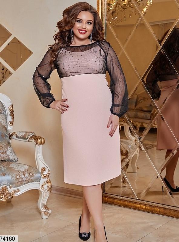 Р. 48-58 Женское вечернее платье с прозрачными рукавами батал