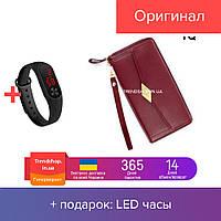 Кошелек - портмоне женский | на молнии, PU кожа | портмоне | клатч TQ100A Wallerry бордовый
