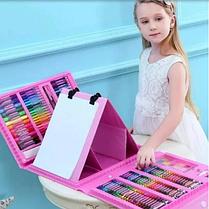 Детский набор для рисования 208 предметов Набор для детского творчества в чемодане Чемодан юного художника, фото 3