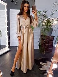 Вечернее платье в пол с разрезом и декольте открытые плечи