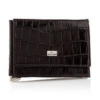 """Зажим-портмоне для купюр из натуральной кожи Desisan """"Крокодил"""" t100/3 темно-коричневый"""
